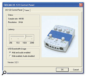 The US122's control panel allows you to adjust the buffer size for a suitable latency value.