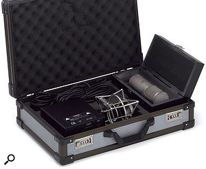 Both the T-Bone SCT2000 (shown here) and Retro Tube mics come in a foam-lined case with shockmount, cables, and PSU.