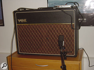 Part of Stefan's test rig, featuring a vintage Vox AC30 amp with his analogue treble-boost emulation on top.