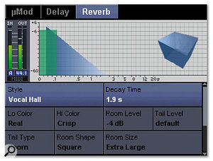 The powerful internal multi-effects section offers three different effects blocks on a send-return loop: the µMod block (top), which offers chorus, flanging, panning, and detuning effects, plus Delay (middle) and Reverb (bottom) blocks.