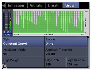 Alongside common dynamic and EQ processes available within the Voice Pro are more unusual and creative effects. The Transducer options (top) allow you to put the vocal through simulated electronic devices such as telephones or valve amps, while the Growl page (bottom) can make the voice rougher, grainier, and more 'rock & roll'.