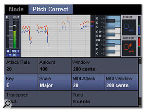 This screen shows the settings for the automatic pitch-correction algorithm.