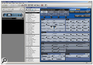 A software editor is available allowing you to edit and archive Voice Pro patches. Here you can see the stand-alone version, but there is also a version which can operate as a VST plug-in within your sequencer, enabling patches to be stored within each of your projects.