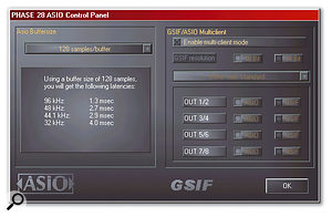 The ASIO settings for the Phase 28, including configuration of the multi-client ASIO/GSIF drivers.