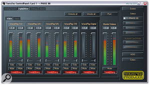 Terratec's familiar control panel software lets you set up complex monitor mixes, and can control up to four cards when using the PC Windows drivers.