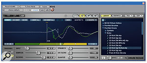 Nudging the position of a trigger in Expert mode. Note how TL Drum Rehab overlays the waveform of the replacement sample in green so that you can line up the two transients perfectly.