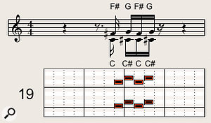 Example 19. The intervals in example 18 can be inverted, so that the sixth and seventh play the top line with the thirds placed underneath.