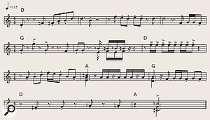 Example 20. This retro-flavoured 12-bar brass arrangement in the key of D shows how accented interjections, rhythmic phrases and melody lines can be combined into a  coherent whole. A  trumpet plays the top line, with tenor sax doubling the trumpet part an octave lower (except for the chords in bars 6, 9, 10 and 12, where the sax plays the lower harmonies).