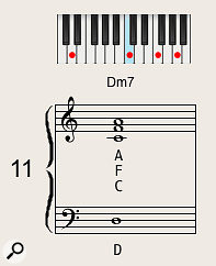 A simple three-note voicing of a  minor-seventh chord.