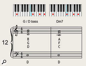 Shifting the minor-seventh voicing up and down a  tone over a  held bass note creates a  nice chordal movement.