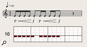 Applying short crescendos to repeated, fast staccato trumpet notes is a  great dramatic device.