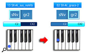 Diagram 18: The Vienna Symphonic Library provides grace notes for every interval up to an octave, which came in handy when we needed to program the saxophone top line in diagram 14. The 'gr2' patch name signifies that the grace note is a  two-semitone interval.