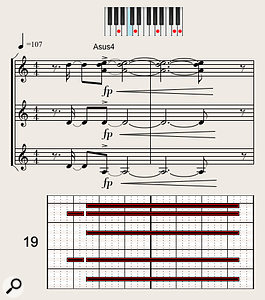 An extract from trumpet player Tom Walsh's pop horn arrangement, showing the dynamic 'forte-piano crescendo' style in action. The parts are scored for (from top down) three trumpets, tenor sax and trombone