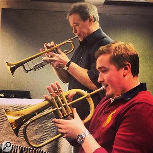 Tom Walsh (foreground) with British trumpet legend Derek Watkins, the sound of James Bond, Tom Jones, Shirley Bassey, Kenny Wheeler's big band, James Last and more.