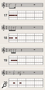Diagrams 17-20 show some typical funk syncopated rhythm patterns. To develop your ability to feel the underlying beat while playing such syncopations, try the techniques suggested in the 'Get On The Good Foot' box.