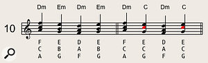 Parallel chordal movements over a pedal bass note (as shown in the first bar) work well. Alternatively, you can use a non-parallel movement like that in the second bar, which has a more serious 'classical' sound.