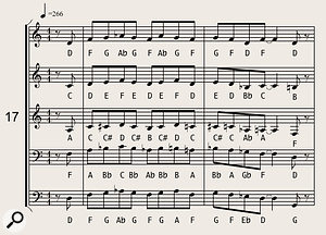 The 'thickened line' (a melody supported by three or four parallel lower harmonies) is a common big-band arrangement technique. This example (played by five saxophones) occurs in the track 'The Sound Of Muzak', from the album Cheating The Polygraph by Gavin Harrison and Laurence Cottle.