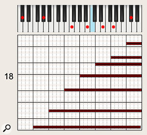 'Futile' from Cheating The Polygraph features big seven-note horn chords played arpeggio-style, with instruments staggering their entries. This example shows a two-bar build into a chorus.