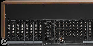 In this cropped rear-panel shot, you can see the connections for two input channels on the far right. Unusually, these include a  dedicated input for external mic preamps, bypassing the onboard ones, which could come in handy in a  modern studio.