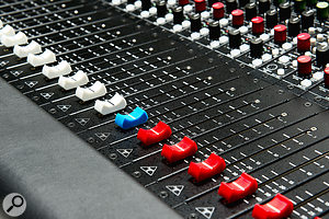 Coloured fader caps for different channel types, and the different coloured knobs for different sections of each channel, help to make navigation around the console a little more intuitive.