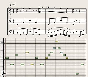 Picture 1: The woodwind break in Smokey Robinson and the Miracles' 'The Tears Of A Clown'. From top: unison piccolo and harpsichord, oboe, bassoon. Dots on notes indicate staccato (a short detached note).