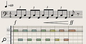 Diagram 1: A banging timpani pattern from Richard Strauss' Also Sprach Zarathustra.