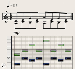 Diagram 7: Simple two-handed ostinato patterns are very effective when played on marimba with soft mallets.