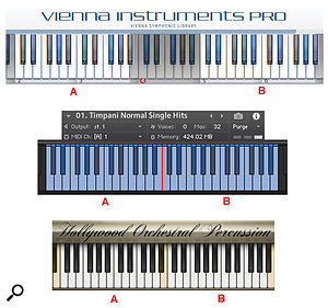 Diagram 5: These handy keyboard mappings duplicate timpani samples in twin keyboard zones, making it easy to programme fast rhythm patterns and repeated notes with two hands. (From top: Vienna Symphonic Library, Orchestral Tools Berlin Percussion, EWQL Hollywood Orchestral Percussion.)