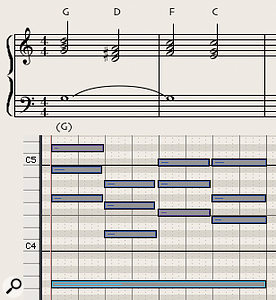 Diagram 8: Simple chord triads work very well in woodwind writing.