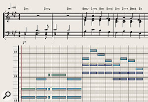 Diagram 9: Softly played horn chords create a sombre, melancholy atmosphere in Thomas Newman's 'Voluntary Retirement' cue from the film Skyfall. Transcription by Dave Stewart.