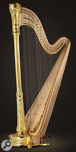 The 47-string concert harp is around six feet tall.