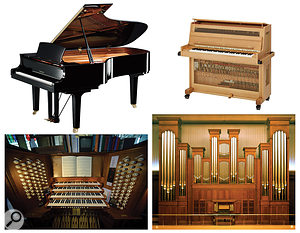 The principal orchestral keyboards (not to scale): Top: grand piano (L), celeste (R). Bottom: pipe organ manuals, pedals and stops (L), organ pipes (R).