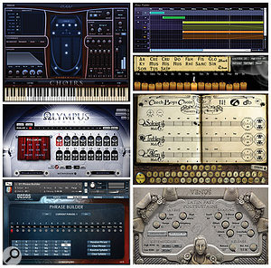 Several choir sample libraries include word-building tools. Clockwise from top left: EWQL Hollywood Choirs, 8Dio Requiem, Virharmonik Czech Boys Choir, Soundiron Venus Symphonic Women's Choir, Cinesamples Voxos, and Soundiron Olympus bundle.