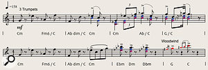 Diagram 3. 'Chase sequence' theme from 'The Race' scored for three trumpets.