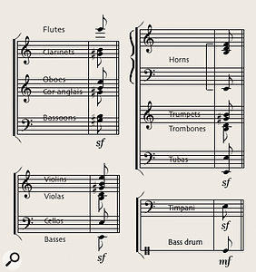 Diagram 10. Less ear-splitting than the notorious 'Firebird' sample, this tutti hit is the opening chord stab heard underneath the hurtling tune of Rimsky-Korsakov's 'Flight Of The Bumblebee'.
