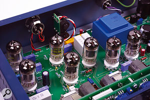 The audio circuitry of the MEC1A uses three ECC81 and three ECC83 valves, as well as a single ECC82.
