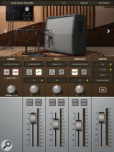 The OX's app offers acomprehensivelibrary of modelled cabinet, speaker and mic setups using an intuitive folder structure, but you can swap out any or all of the elements and store your own User setups too. The virtual mics can be set to on‑ or off‑axis, high‑pass filtered, panned, soloed or muted, and blended to taste using the on‑screen faders.