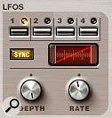 The four LFOs share one set of controls, with the one to edit chosen by the four switches at the top.