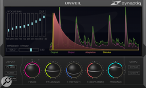 <strong>Unveil allows attenuation or boosting of reverb components: </strong>Zynaptiq's Unveil