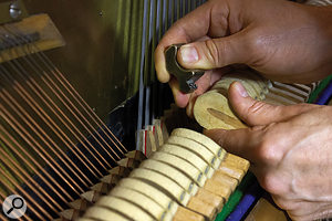 By 'needling the felt' individual notes — or indeed a  whole piano — can be made to sound softer.