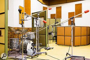 Studio A  was last remodelled in 1975. The colour scheme is flawless down to the custom red counterweights on the Starbird microphone stands.