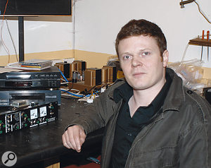 Engineer Nick Terry testing an Early Bird 2 mic preamp in the quality-control department.