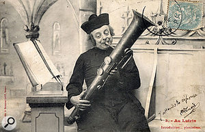 Monsieur le Curé and his Ophicleide, depicted in a popular French postcard series.