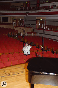 Although Paul's Soundfield mic was placed only three rows from the front of the stage, it was found to be picking up too reverberant a sound, so it was moved closer to remedy this.