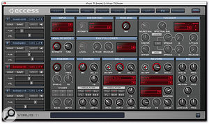The tabbed interface of Virus Control spreads the synth's parameters and settings over 10 editing pages, but it's very clearly laid out. Shown in these screenshots are pages for editing the oscillators, filters and effects.