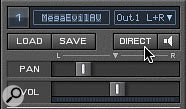 The Direct button in each Virus Control part routes the part to the Snow's hardware outputs with near-zero latency, regardless of the buffer size in your DAW.