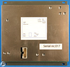 The rear panel of the VM1, showing the calibration controls and power connector.