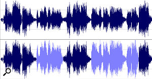 In the lower waveform, the sections in lighter blue have been normalised — these sections have a higher peak level than the same sections in the upper waveform.