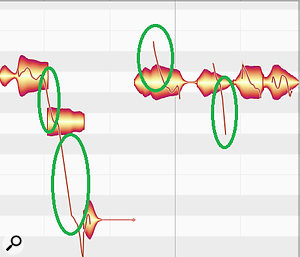 Melodyne displays the slides from one note to another (circled in green) as well as the pitch associated with the note.