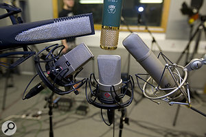 The shortlisted mics for Chuck, clockwise from top left: SE Electronics RNR1, AKG C12VR, Microtech Gefell M92.1S, Neumann TLM103, AKG C414B ULS.